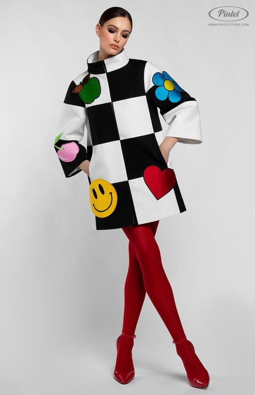 Верхняя одежда женская Pintel™ Комбинированное оп-арт полупальто прямого силуэта Maloü - фото 1