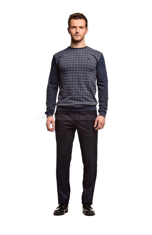 Кофта, рубашка, футболка мужская Keyman Джемпер мужской синий в серый рисунок - фото 1