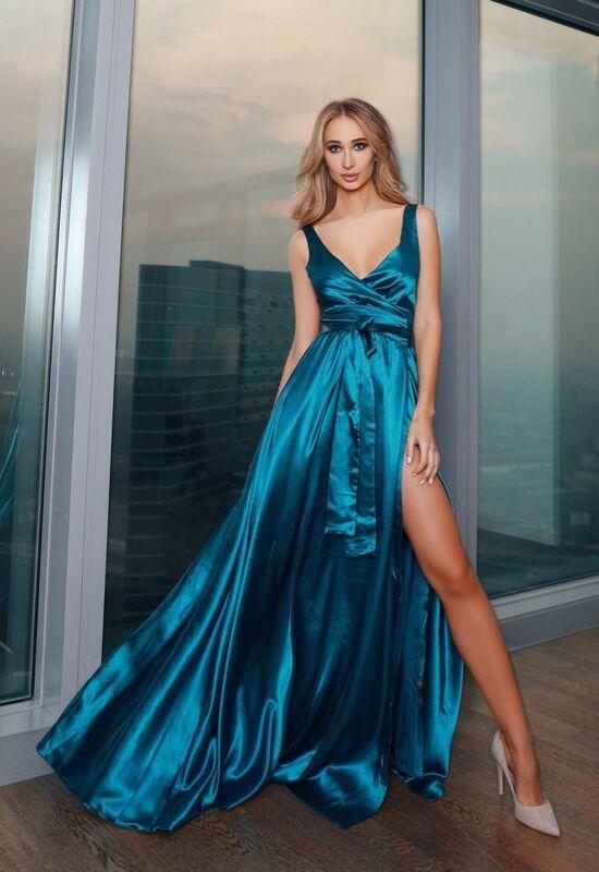 Вечернее платье Shkafpodrugi Летящее синее платье в пол - фото 1