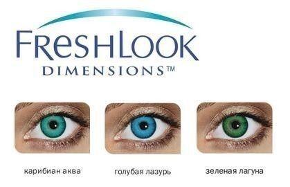 Линзы CIBA Vision Контактные линзы FreshlookDimensions(безкоррекции)(CaribbeanAqua) - фото 2