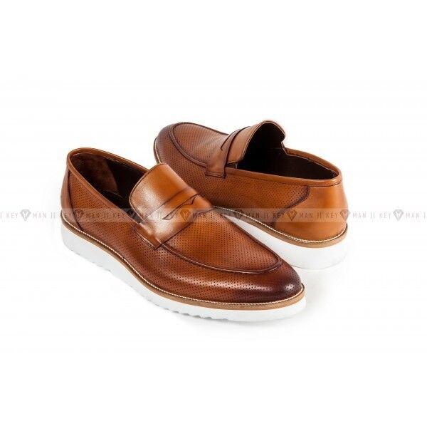 Обувь мужская Keyman Туфли мужские ЭВА лоферы рыжие с декоративной перфорацией - фото 1