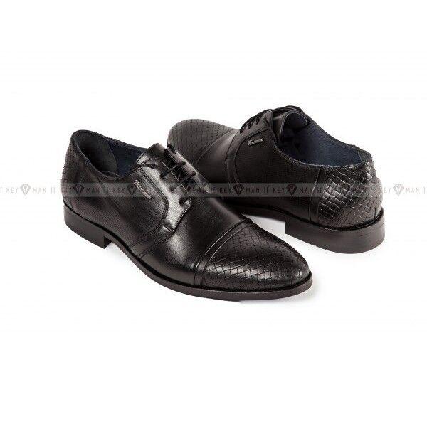 Обувь мужская Keyman Туфли мужские дерби черные с плетеной выделкой - фото 1