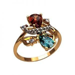 Ювелирный салон jstudio Золотое кольцо с различными фианитами 10281 - фото 1