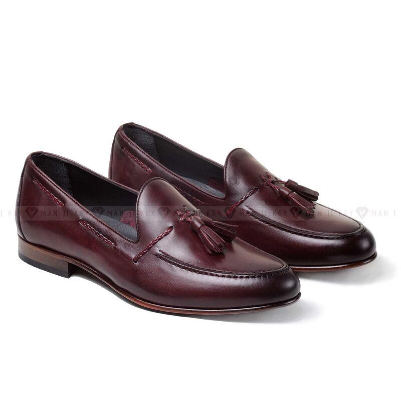 Обувь мужская Keyman Туфли мужские лоферы бордовые (бургунди) на кожаной подошве - фото 1