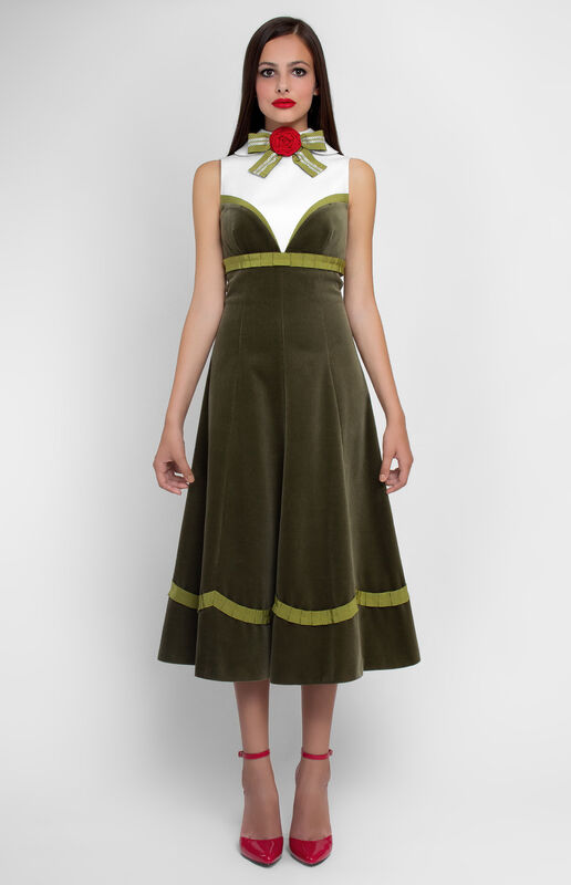 Платье женское Pintel™ Комбинированное платье из бархата и хлопка Epolia - фото 1