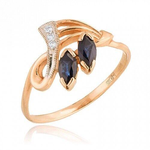 Ювелирный салон Jeweller Karat Кольцо золотое с бриллиантами и сапфиром арт. 1211456 - фото 1