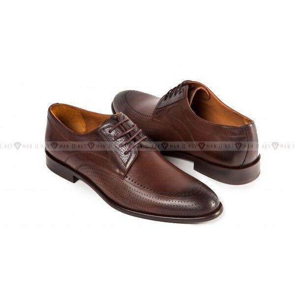 Обувь мужская Keyman Туфли мужские дерби коричневые с декоративной перфорацией - фото 1