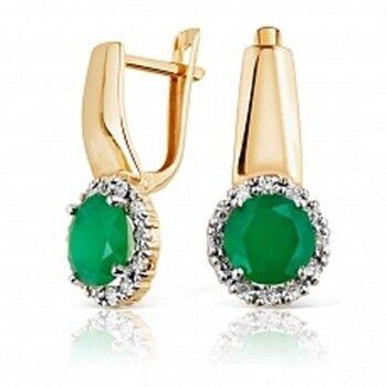 Ювелирный салон Jeweller Karat Серьги золотые с бриллиантами и хризопразами арт. 3225846/9 - фото 1