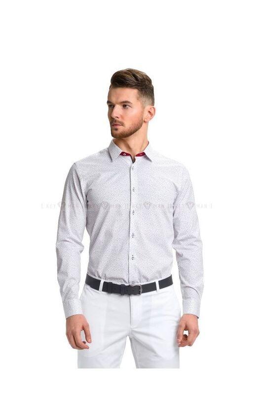 Кофта, рубашка, футболка мужская Keyman Рубашка мужская белая в мелкий цветочек - фото 1
