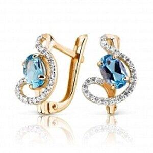 Ювелирный салон Jeweller Karat Серьги золотые с бриллиантами и топазом арт. 1224629 - фото 1