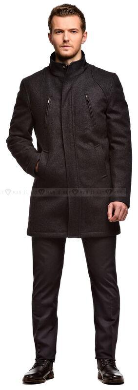 Верхняя одежда мужская Keyman Пальто мужское серое шерстяное утепленное мехом - фото 1