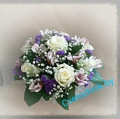 Магазин цветов Цветочник Букет невесты из роз, альстромерий и статицы - фото 1