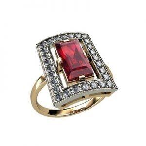 Ювелирный салон jstudio Золотое кольцо с различными вставками 10256 - фото 1