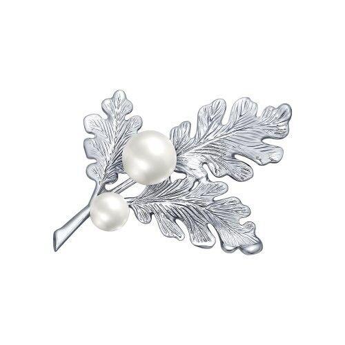 Ювелирный салон Sokolov Брошь из серебра с жемчугом 94040132 - фото 1