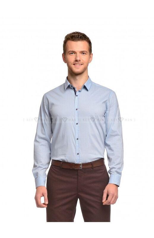 Кофта, рубашка, футболка мужская Keyman Рубашка мужская голубая в сине-красный узор - фото 1