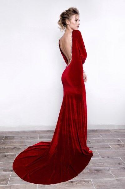 Вечернее платье Mary Bride Бархатное красное платье - фото 3