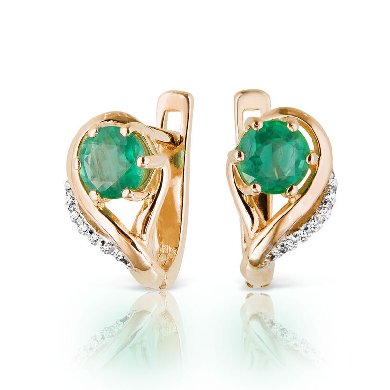 Ювелирный салон Jeweller Karat Серьги золотые с бриллиантами и хризопразом арт. 1225105 - фото 1