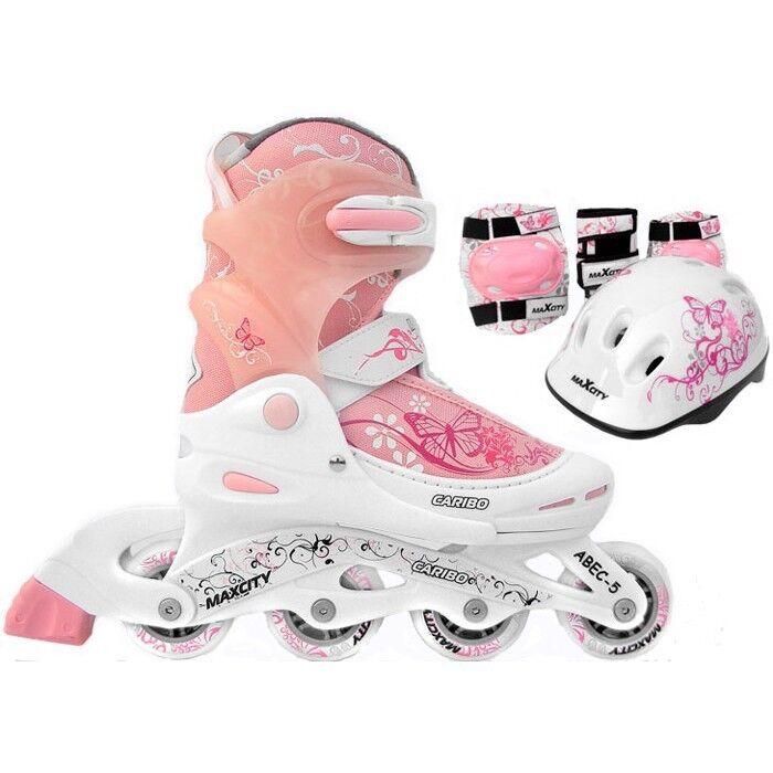 Роликовые коньки Maxcity Роликовые коньки раздвижные Caribo Combo Girl с комплектом защиты - фото 1