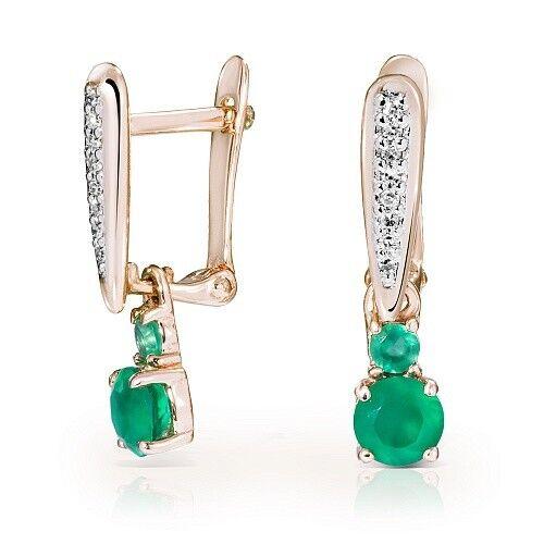 Ювелирный салон Jeweller Karat Серьги золотые с бриллиантами и хризопразами арт. 1225973/1 - фото 1