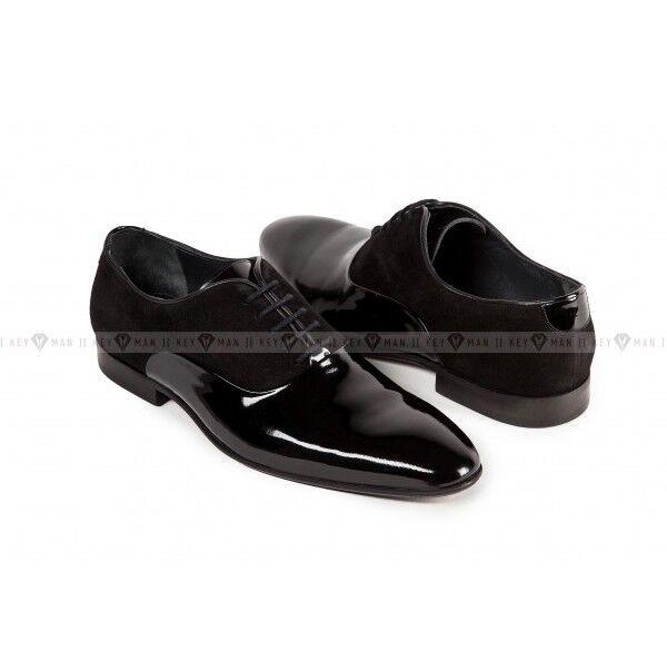 Обувь мужская Keyman Туфли мужские оксфорд лак замша черные - фото 1