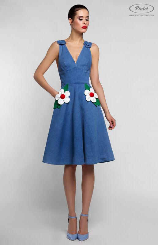 Платье женское Pintel™ Приталенное джинсовое платье без рукавов RICOTTA - фото 1
