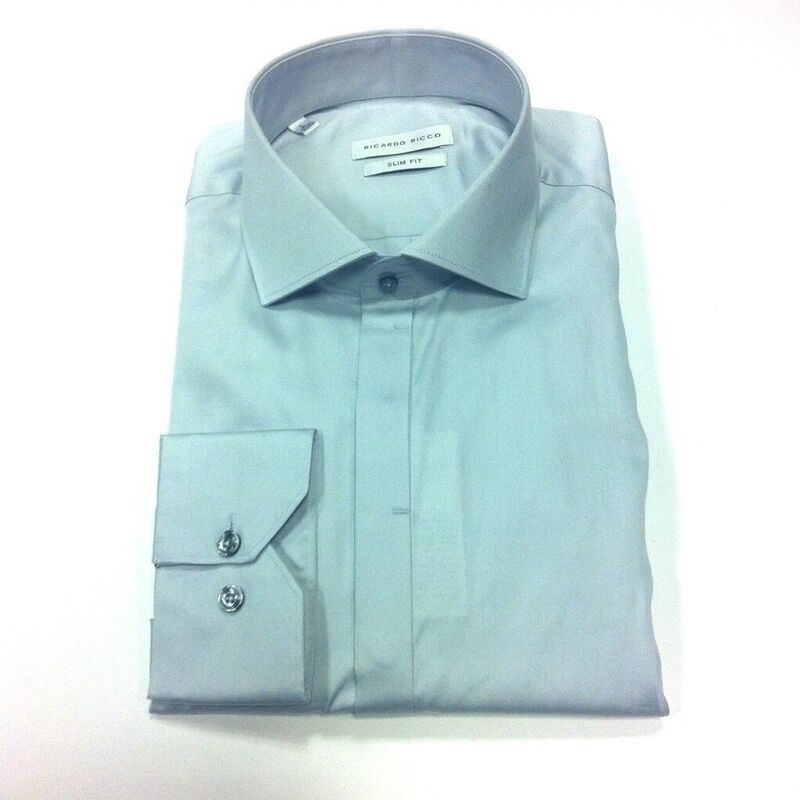 Кофта, рубашка, футболка мужская Ricardo Ricco Рубашка мужская, цвет: серо-голубой (Slim Fit) RR7 - фото 1