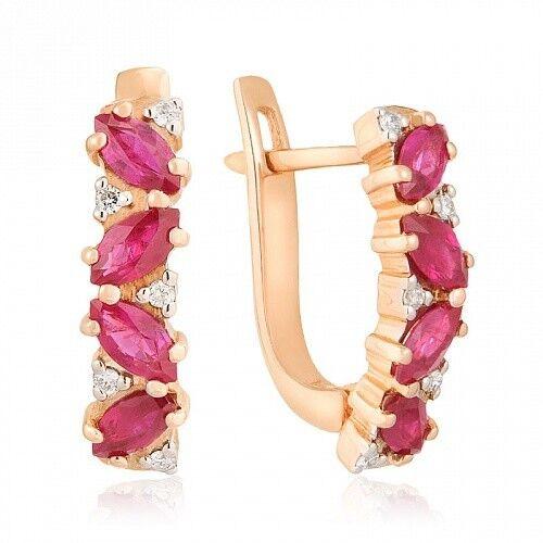 Ювелирный салон Jeweller Karat Серьги золотые с бриллиантами и рубином арт. 1221403 - фото 1