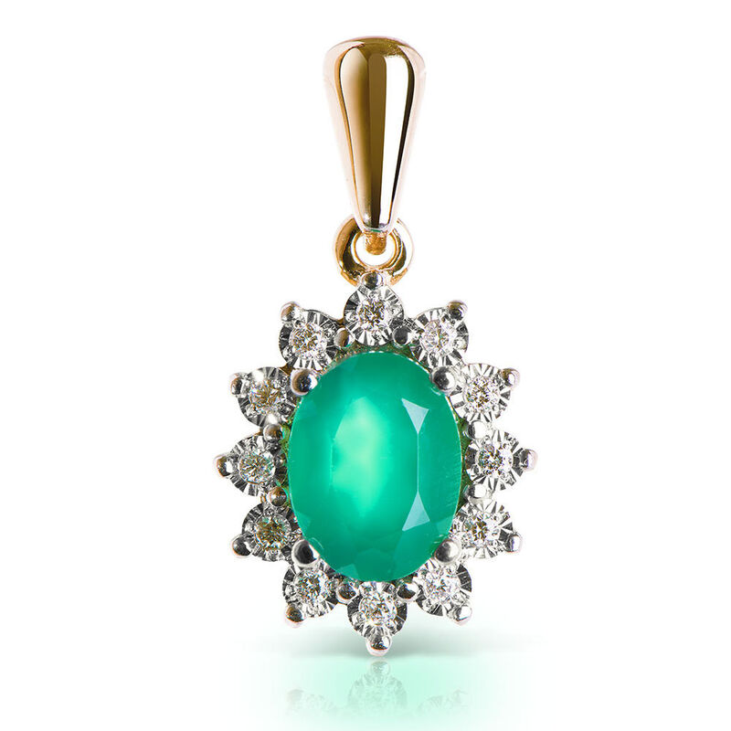 Ювелирный салон Jeweller Karat Подвеска золотая с бриллиантами и хризопразом арт.3232752/91 - фото 1