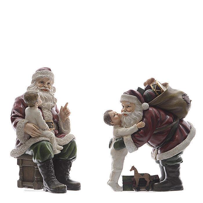 Подарок на Новый год mb déco Статуэтка новогодняя «Santa с ребенком» 535164/KG в ассортименте - фото 1