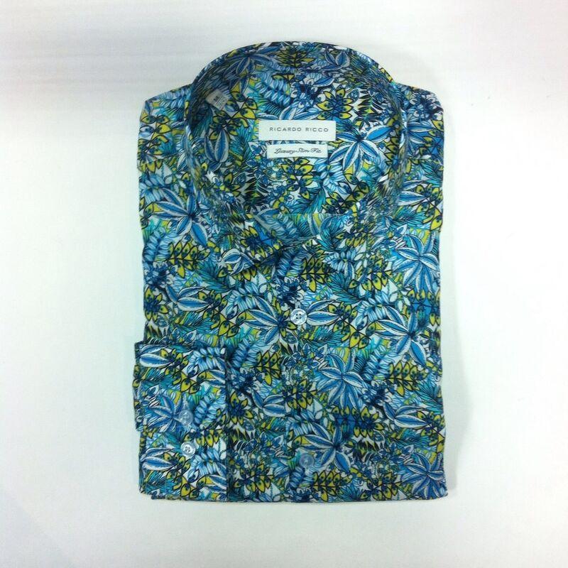 Кофта, рубашка, футболка мужская Ricardo Ricco Рубашка мужская, цвет: принт (Slim Fit) R28 - фото 1