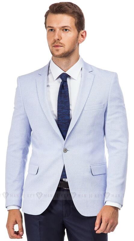 Пиджак, жакет, жилетка мужские Keyman Пиджак мужской голубой фактурный (трикотажный) - фото 1