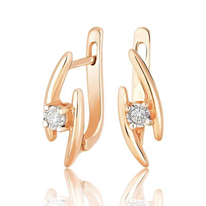 Ювелирный салон Jeweller Karat Серьги золотые с бриллиантами арт. 3222827/9 - фото 1