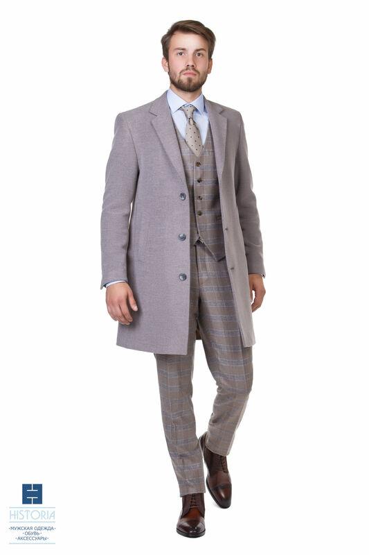 Верхняя одежда мужская HISTORIA Пальто утепленное светло-серое - фото 1