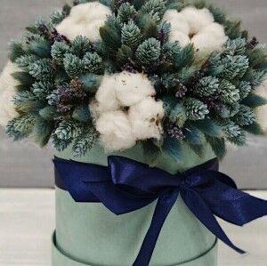 Магазин цветов Прекрасная садовница Бархатная коробочка с лагуросом, фалярисом и хлопком - фото 1
