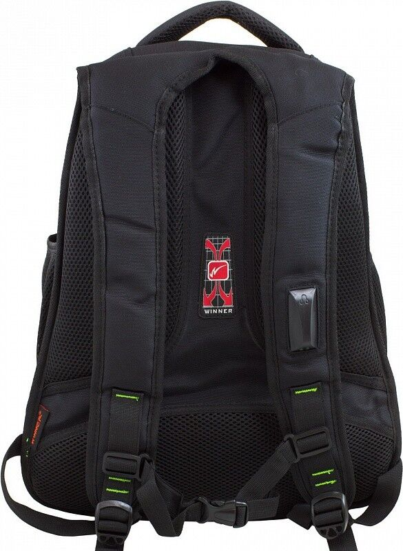 Магазин сумок Winner Рюкзак школьный черно-зеленый 391 - фото 3