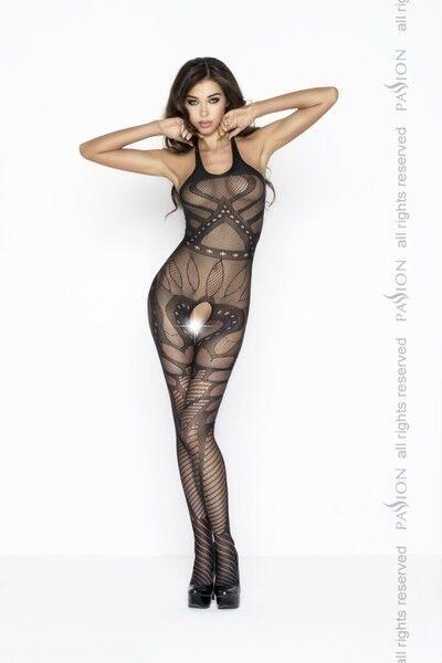Интим-магазин Passion Черный кэтсьюит с абстрактным рисунком BS037 - фото 1