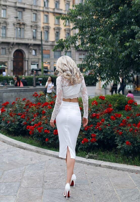 Вечернее платье Shkafpodrugi Кружевной белый костюм из юбки миди и топа - фото 3