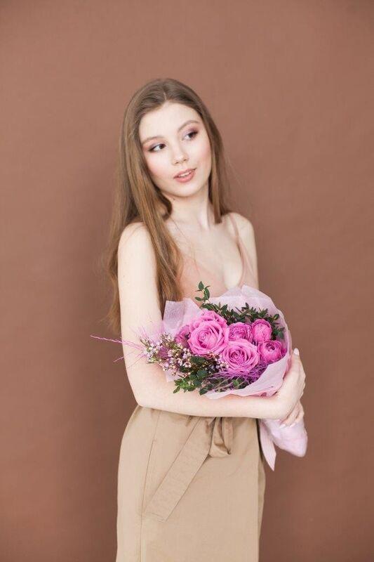 Магазин цветов ЦВЕТЫ и ШИПЫ. Розовая лавка Букет средний розовый (диаметр 25-30 см) - фото 2