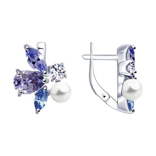 Ювелирный салон Sokolov Серьги из серебра с жемчугом Swarovski и кристаллами Swarovski 94023050 - фото 1