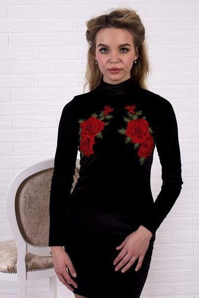 Вечернее платье Shkafpodrugi Бархатное черное платье мини с цветочной аппликацией 1120 - фото 1