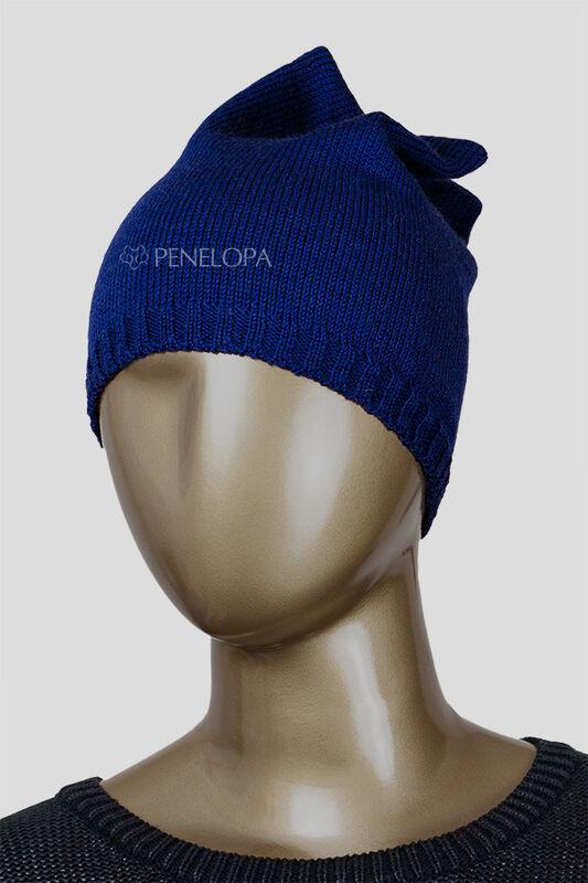Головной убор PENELOPA Вязаная синяя шапка M6 - фото 5