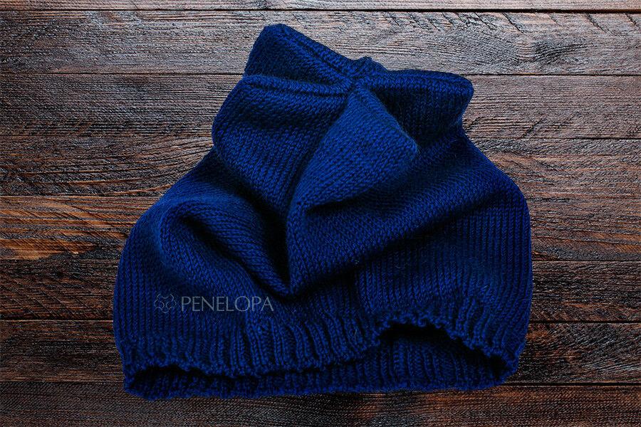 Головной убор PENELOPA Вязаная синяя шапка M6 - фото 3