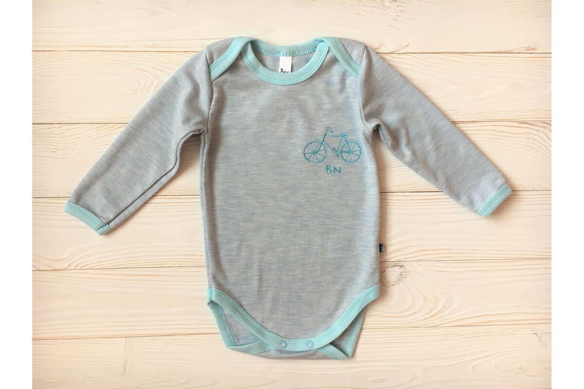 Кофта, майка детская Zefirka Kids Боди голубое с вышивкой - фото 1