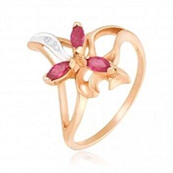 Ювелирный салон Jeweller Karat Кольцо золотое с бриллиантами и рубином арт. 1211259 - фото 1