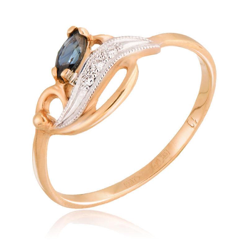 Ювелирный салон Jeweller Karat Кольцо золотое с бриллиантами и сапфиром арт. 1211518 - фото 1
