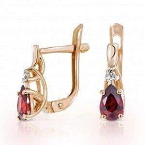 Ювелирный салон Jeweller Karat Серьги золотые с бриллиантами и гранатами арт. 1225976 - фото 1
