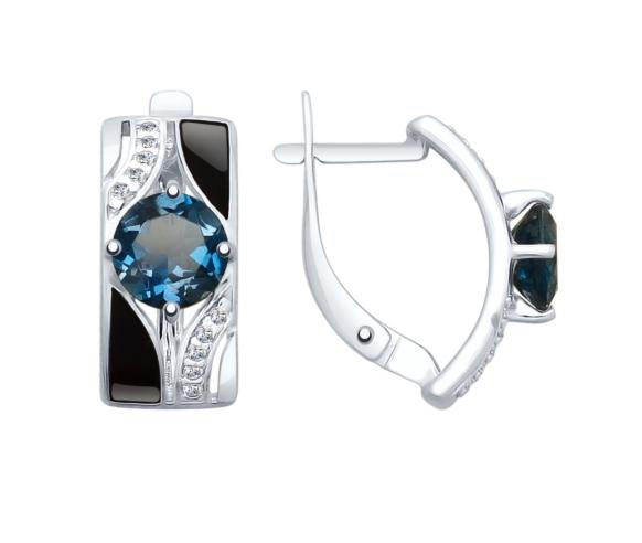 Ювелирный салон Sokolov Серьги из серебра с эмалью и синими топазами и фианитами 92021672 - фото 1