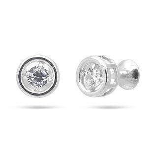 Ювелирный салон Evora Серьги-пусеты из серебра 925 пробы с фианитами 628372 - фото 1
