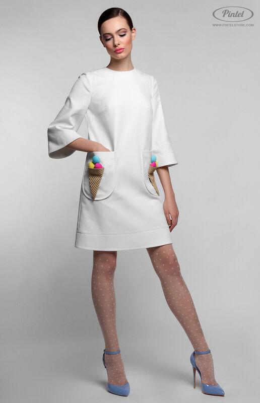 Платье женское Pintel™ Белое мини-платье А-силуэта NETTA - фото 1