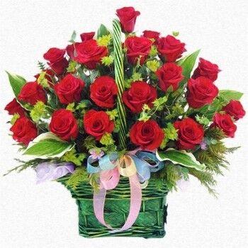 Магазин цветов Ветка сакуры Композиция «Корзина красных роз №29» - фото 1